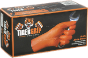 EPPCO's Tiger Grip Powder-Free HD Orange Nitrile Gloves
